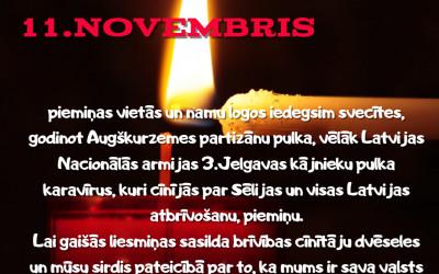 11. novembrī iedegsim sveces varoņu piemiņai
