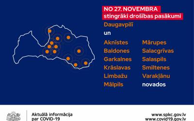 No 27. novembra pastiprina atsevišķus piesardzības pasākumus visā valstī un nosaka stingrākus drošības pasākumus arī Aknīstes novadā