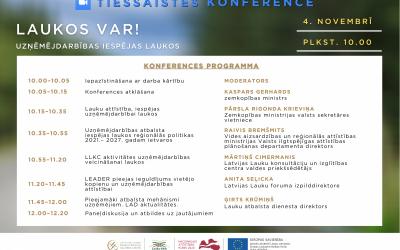 """LLKC aicina  4. novembrī piedalīties tiešsaistes konferencē """"Laukos var! Uzņēmējdarbības iespējas laukos"""""""