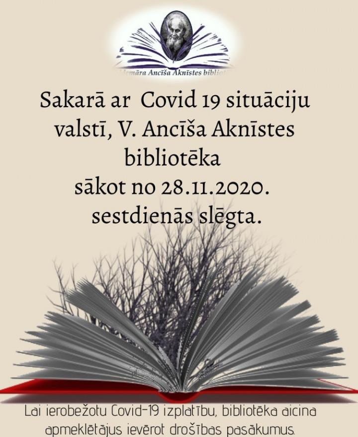 V. Ancīša Aknīstes bibliotēka informē